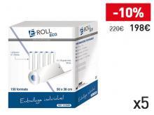 Draps d'examen ouatés blanc - 2x18g - 5 cartons de 12 rouleaux