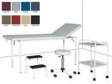 Cabinet Médical complet : Divan d'examen Eco Démontable + Tabouret réglable sur roulettes + Escabeau 2 marches + Guéridon 2 plateaux